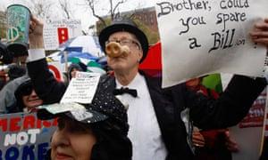 A Tea Party protest in Lafayette Park, Washington DC in April 2009.