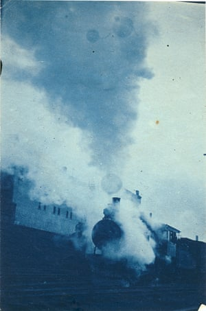 An Alco steam locomotive coming into Wilmington station, Delaware. Masters used the cyanotype process with its characteristic blue colour, a quick and easy way to make photographs