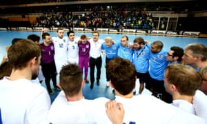 Mike Skubala, England's futsal head coach, talking here to his team after an international in 2015, wants children to play futsal at primary school before specialising.
