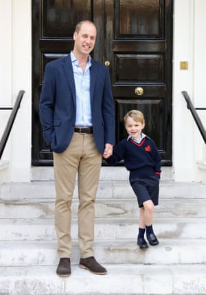 Handout photo released by the Duke and Duchess of Cambridge of the Duke of Cambridge with his son Prince George on his first day of school.