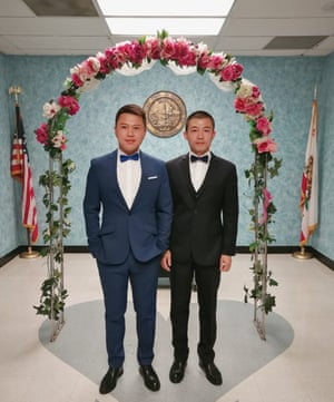 Xu, left, and Li's wedding day in Los Angeles, 2015.