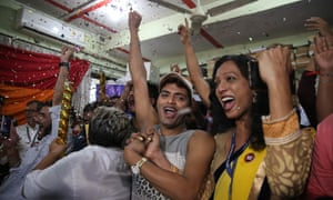 Supporters and members of the LGBT community celebrate in Mumbai