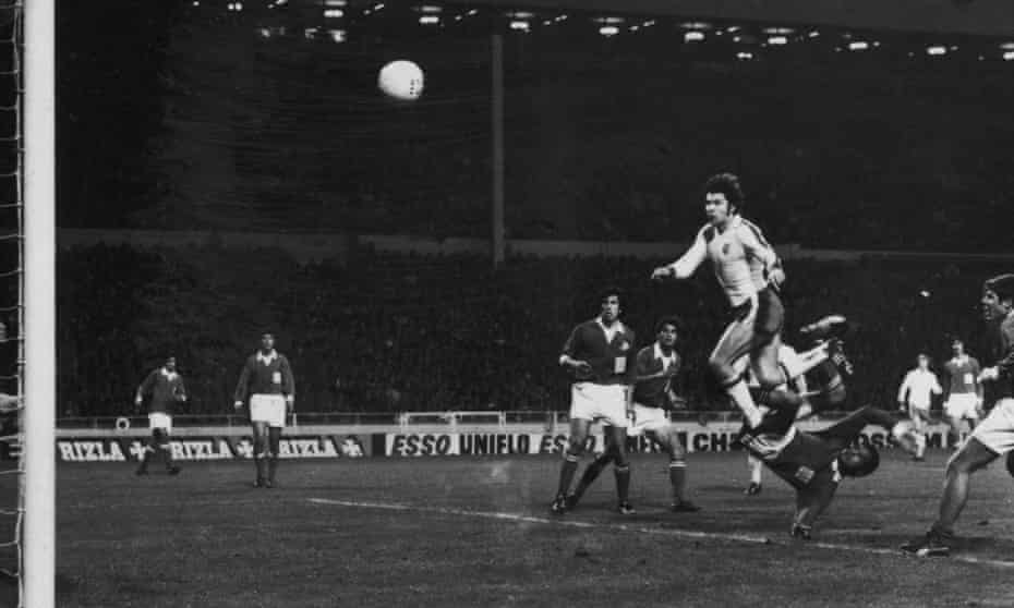 Malcolm Macdonald scores his fourth for England against Cyprus. Yes, it's another header.