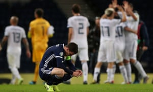 Scotland captain Andrew Robertson looks dejected after defeat in the qualifier against Russia