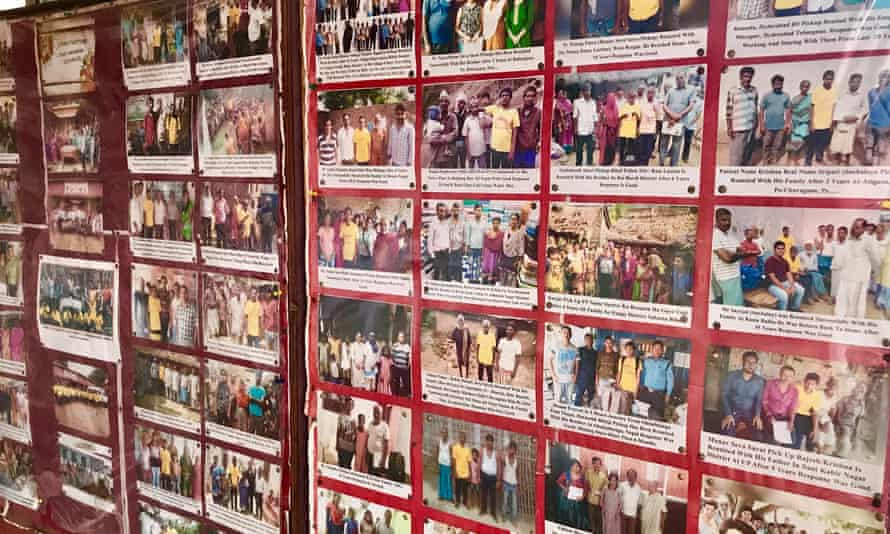 Walls of the Shraddha Rehabilitation Foundation's residential treatment facility, covered with pictures of reunited patients