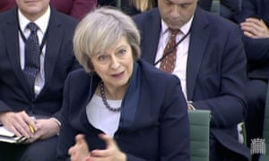 Theresa May giving evidence to the Commons liaison committee