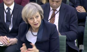 Theresa May giving evidence to the Commons liaison committee.