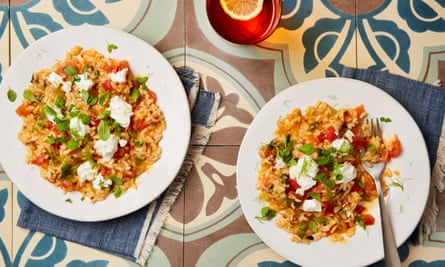Thomasina Miers' tomato and fennel risotto with goats' curd and marjoram.