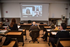 Degrees in nursing are awarded to students via teleconference at a university in Milan. The ceremony, originally scheduled for April, was moved forward in order to have nurses immediately available to deal with the Covid-19 crisis