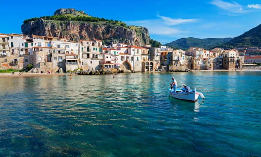 Cefalu sea and houses, Sicily.