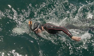 Ben Lecomte swims in the Pacific Ocean.
