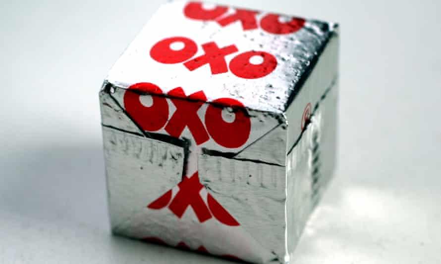 An Oxo beef cube in its venerable foil wrapper