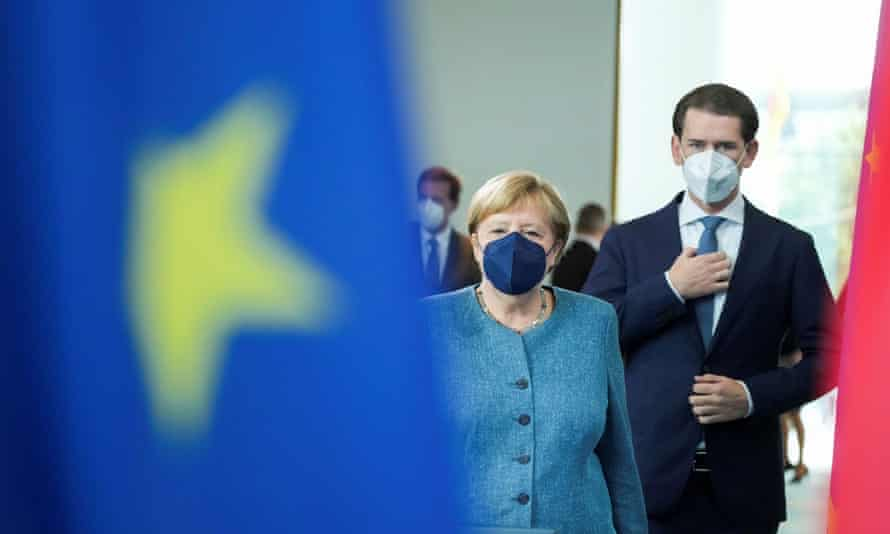 Angela Merkel and Sebastian Kurz at a news conference in Berlin