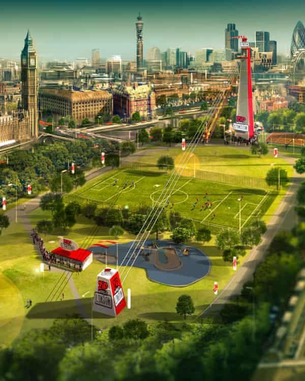 An artist's impression of Zipworld in Archbishop's Park, Lambeth, London.