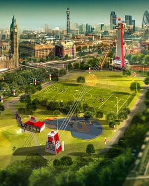 An artist's impression of Zipworld in Archbishop's Park, Lambeth, London.