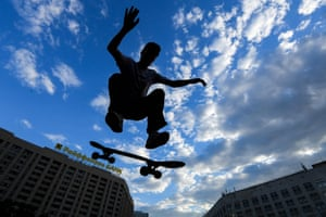 A skateboarder in Moscow, Russia
