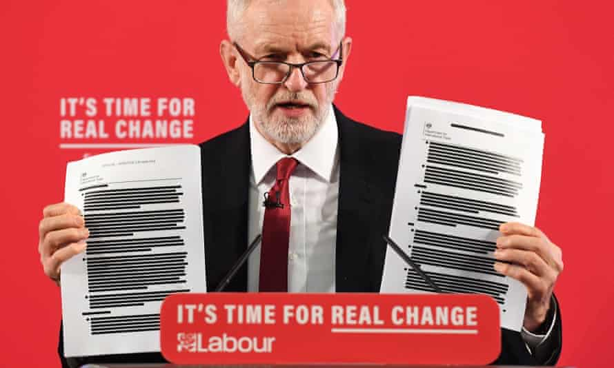 Jeremy Corbyn holds leaked trade talk documents on the NHS at a press conference in November.
