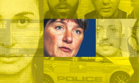 NCA boss Lynne Owens superimposed over various images of organised crime