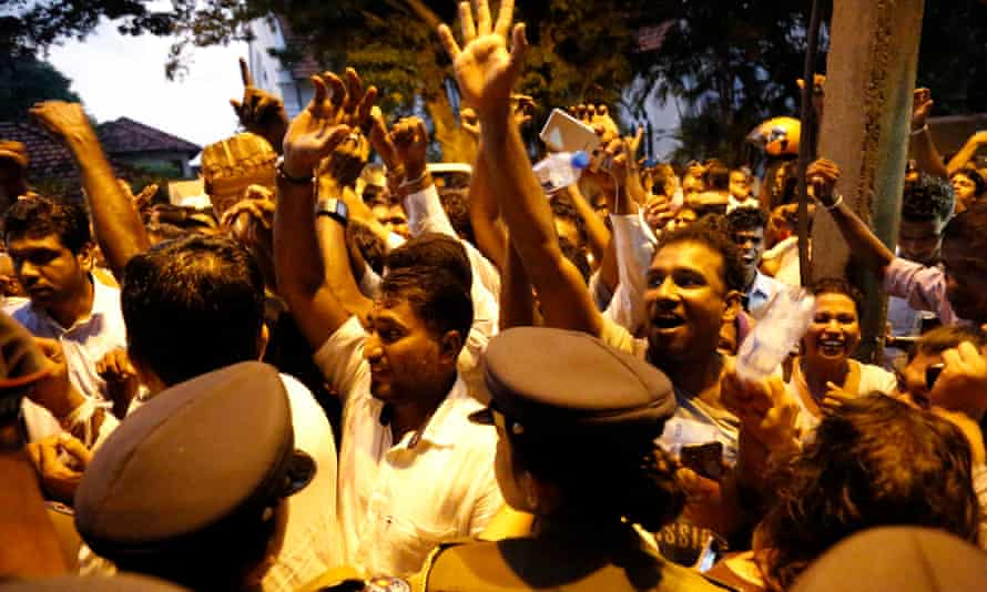 United National Party (UNP) supporters in jubilation after Sri Lanka's Supreme Court issued an interim order temporarily suspending the Gazette notification issued by the President dissolving the Parliament