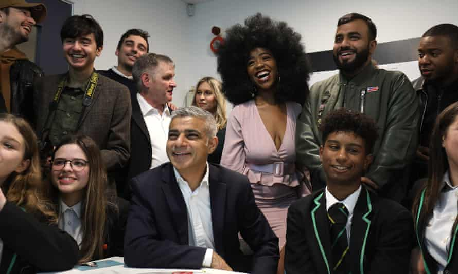 Sadiq Khan with the influential young Londoners and pupils at Evelyn Grace academy.