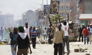 Opposition supporters clash with police in the Jacaranda grounds quarter in Nairobi