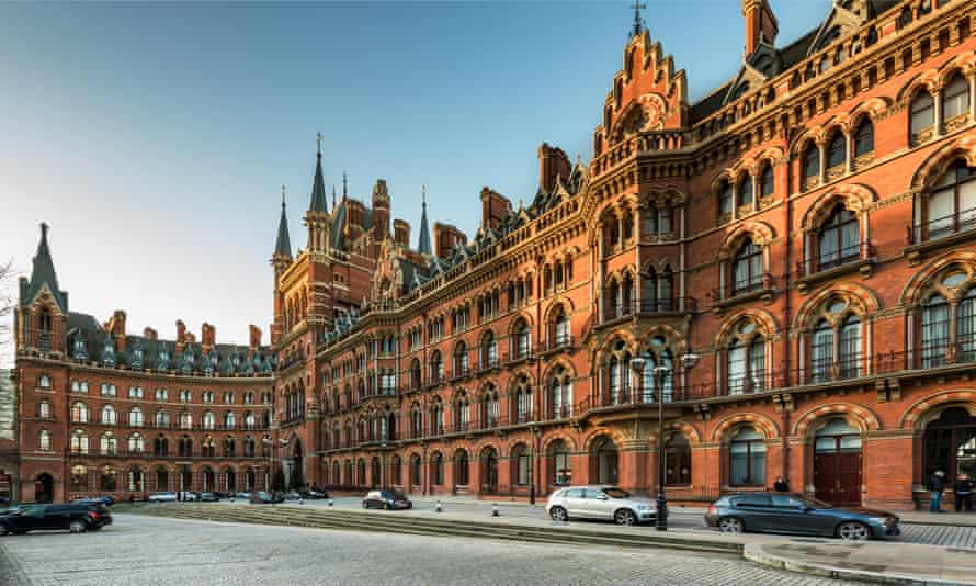 George Gilbert Scott's gothic buildings at St Pancras station in London.