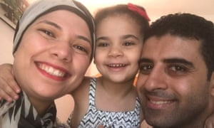 Amany Abdelmeguid with her daughter and her husband, Dr Ahmed Ibrahim.