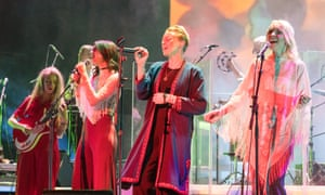 Channelling Serge Gainsbourg … La Roux (centre) performs with Whyte Horses at the Royal Festival Hall.