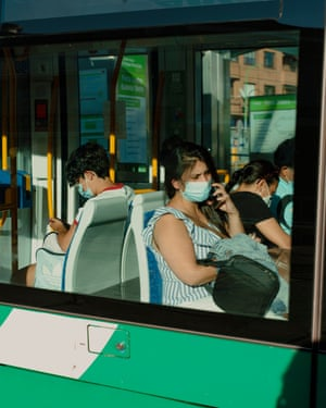 Commuters ride a tram on Thursday, September 10 2020 in Parla, Spain.