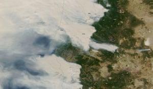 A NASA MODIS satellite image shows wildfires in Oregon, U.S. September 8, 2020. Picture taken September 8, 2020. Satellite image