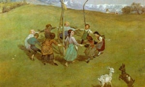 Detail from the Hans Thoma lithograph Spring in the Mountains (Frühling im Gebirge/Kinderreigen)