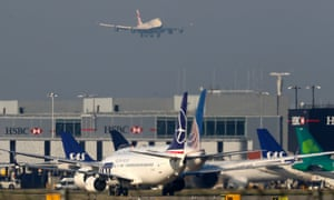 A British Airways 747 prepares to land at Heathrow airport