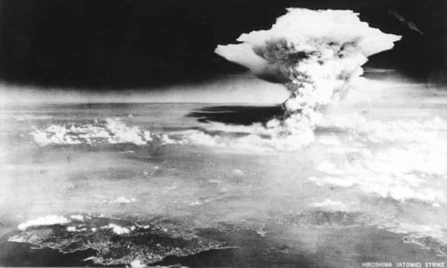 The mushroom cloud rises over Hiroshima after the dropping of the atomic bomb in 1945.
