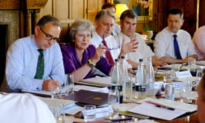 Theresa May addresses her colleagues at last week's Chequers meeting where mobile phones were confiscated