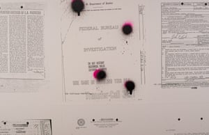 Splotches that resemble bullet holes are featured on some replicas of FBI documents.