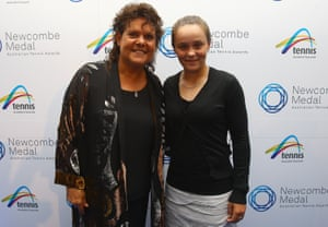 Goolagong Cawley, a Wiradjuri woman, and Barty, a Ngaragu woman, have been friends for over a decade.The pair at the Newcombe medal awards at Melbourne Park in December 2010.