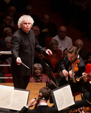 In his element ... Simon Rattle.