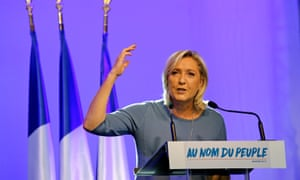 Le Pen delivers her speech during the Fréjus rally.