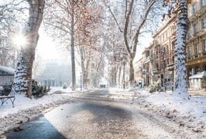 Walking in a winter wonderland, Zrinjevac Park in Zagreb, Croatia.