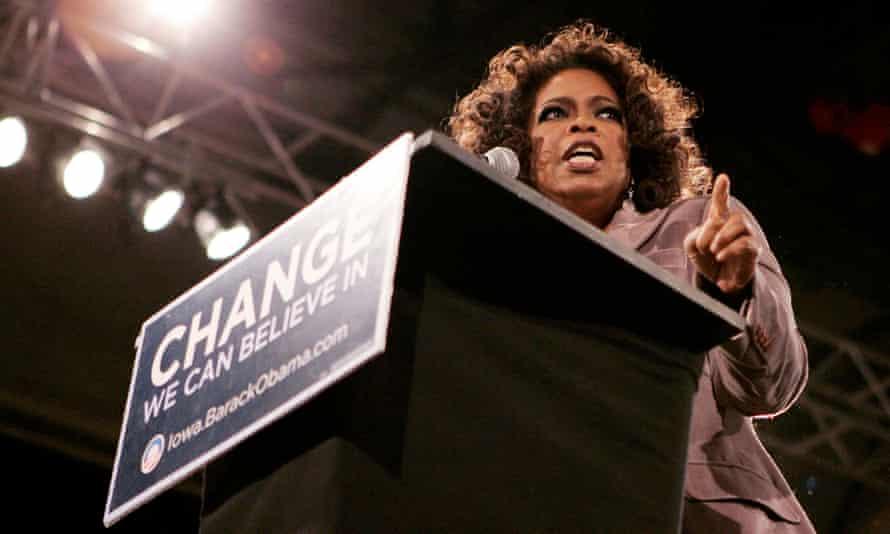 Oprah Winfrey speaks at a rally in Iowa.