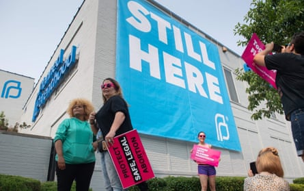 Outside the Planned Parenthood in St Louis. Its fate remains uncertain.