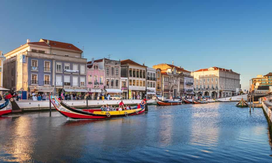 Central canal in Aveiro, with traditional boat