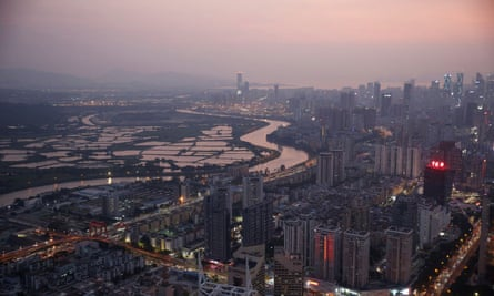 Shenzhen River, the border river that divides Hong Kong and Shenzhen is seen from Shenzhen, China,