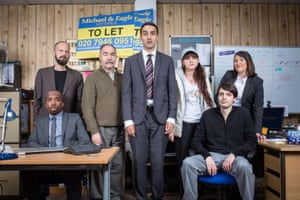 'The fact that I don't think it's diabolical is a huge achievement for me' … the cast of Stath Lets Flats, with Demetriou's sister Natasia third right.