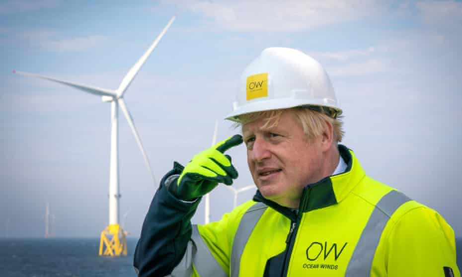 Boris Johnson at a windfarm in Scotland.