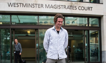 Lauri Love at Westminster magistrates court for his extradition hearing in July 2016.