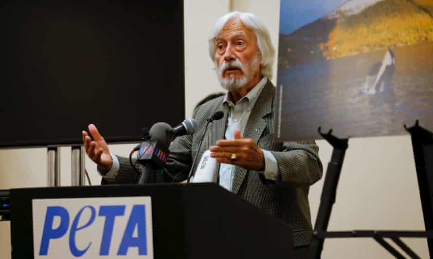 Jean-Michel Cousteau, president of the Ocean Futures Society, made his remarks at a news conference hosted by Peta.