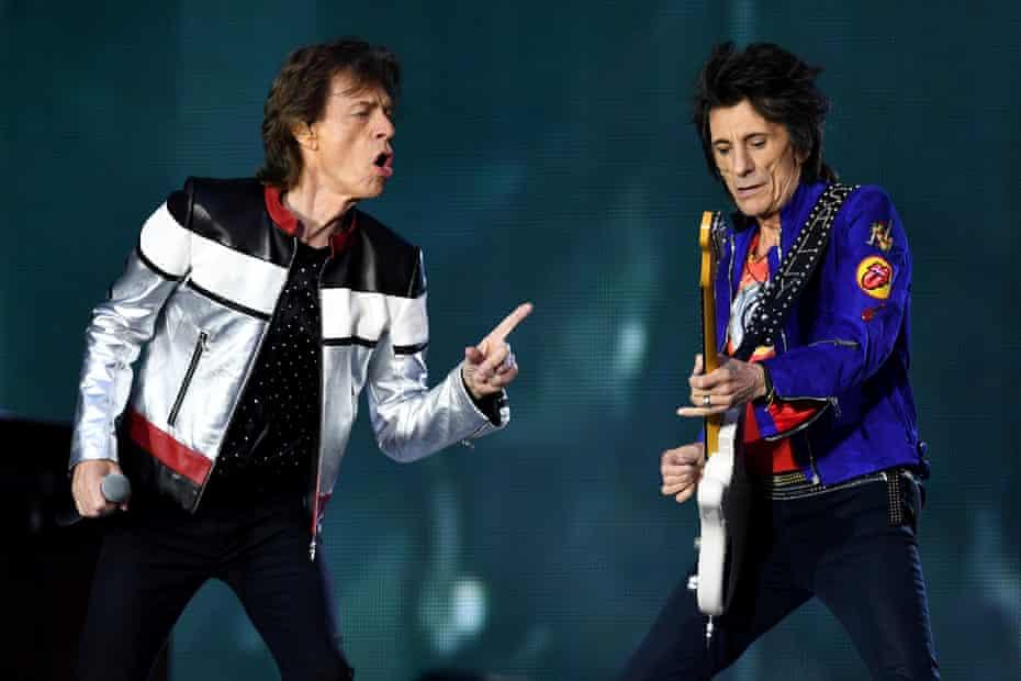Mick Jagger and Ron Wood.