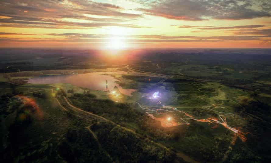 An artist's impression of the proposed Anglesea Eden project on the site of a former Alcoa coalmine in Victoria.