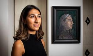 Radhika Sanghani with the portrait of her by Nicholas Baldion.